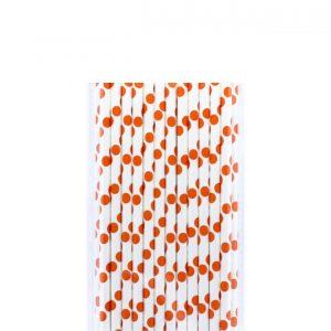 Papirne slamcice bele sa narandzastim tufnama 25kom.331015.150din