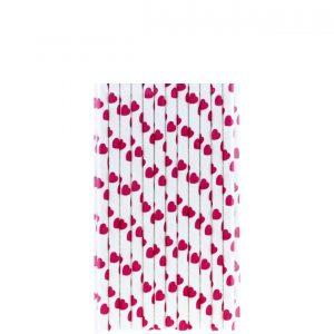 Papirne slamcice bele sa pink srcima 25kom.331016.150din