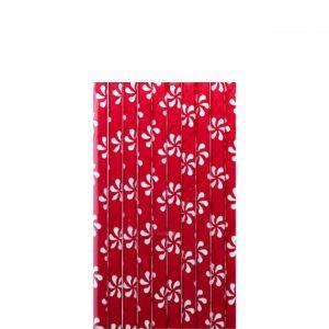 Papirne slamcice crvene sa cveticima 10kom.331004.120din